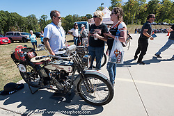 Bill Page with his 1915 Harley-Davidson during the Motorcycle Cannonball Race of the Century. Lunch stop at S&P Harley-Davidson in Williamstown, WV on Stage-3 from Morgantown, WV to Chillicothe, OH. USA. Monday September 12, 2016. Photography ©2016 Michael Lichter.