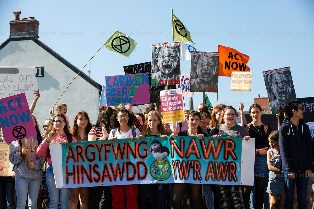 Haverfordwest, Pembrokeshire, West Wales, UK. 20 September 2019.<br /> <br /> Climate protesters and activists demonstrate in front of County Hall in Haverfordwest as part of the global protest in support of action on climate change.<br /> <br /> Credit: Gruffydd Ll. Thomas