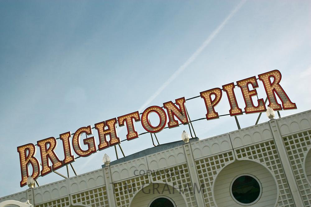 Brighton pier sign, England, United Kingdom