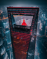 Aerial view of IFC and Jin Mao tower with the lights on in Shanghai, China.