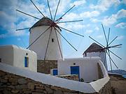 Traditional windmills in Mykonos town, Cyclades, Greece