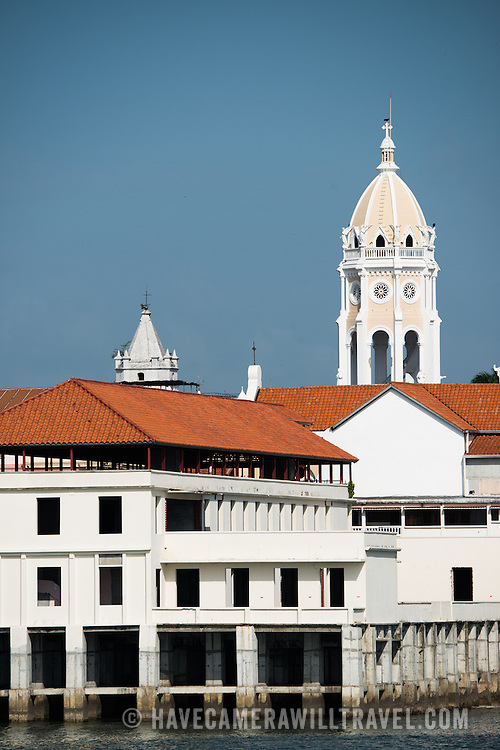 Historic buildings of Casco Viejo on the waterfront of Panama City, Panama, on Panama Bay, as seen from the Coastal Beltway (Cinta Costera III).
