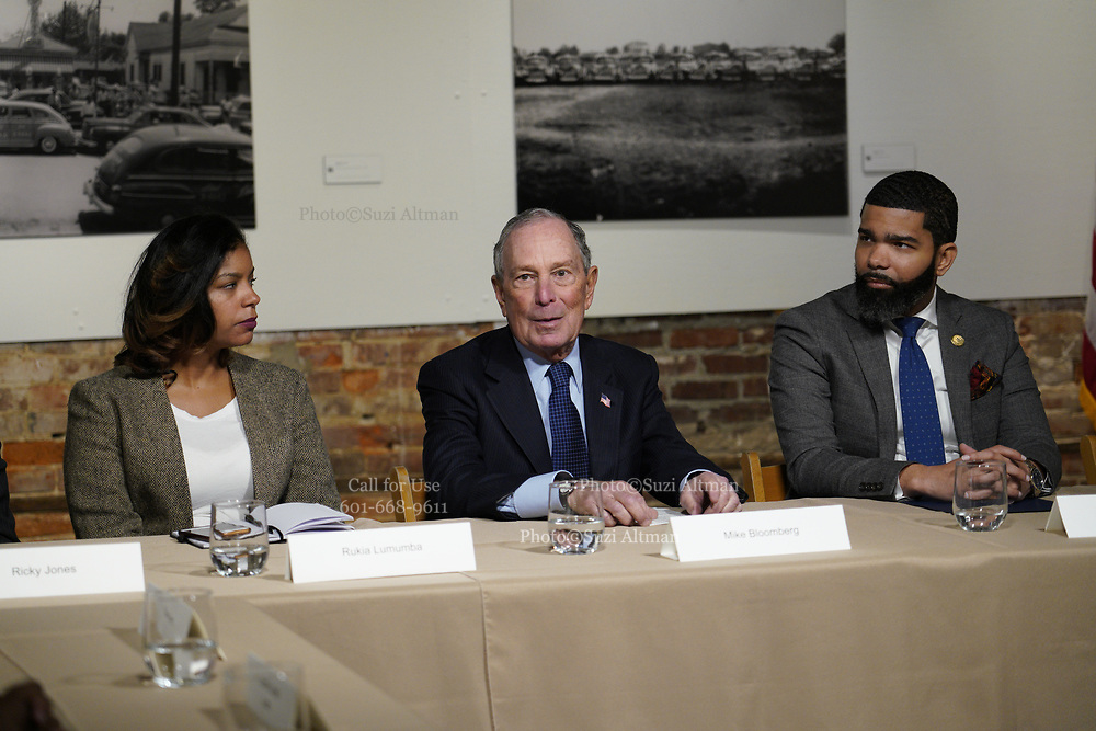 """12/3/19 Jackson MS. Democratic Presidential candidate and former New York City Mayor Michael Bloomberg visits with Mayor  Chokwe Antar Lumumba at the Smith Robertson Museum. Bloomberg and the Mayor of Jackson where their to have a discussion on criminal justice reform with community leaders. Bloomberg spoke with the press after his meeting with community leaders and said he made a mistake with """"stop and frisk"""" policy in New York City and has learned from his mistakes. Today at the community meeting Presidential candidate Michael Bloomberg unveiled three criminal justice reform policy proposals. The proposals focus on reducing the United States incarceration rates, which are the highest in the world and addressing the failings of the criminal justice system that disproportionately harms communities of color. Bloomberg will introduce his plan for comprehensive criminal justice reform in the coming weeks. Photo ©Suzi Altman"""