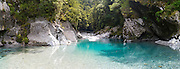 Panoramic view of the Blue Pools, a beautiful turquoise pool, near the mouth of the Blue River where it enters the Makarora River, Mount Aspiring National Park, Otago, New Zealand.