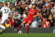 Emre Can of Liverpool in action. Premier League match, Liverpool v Burnley at the Anfield stadium in Liverpool, Merseyside on Saturday 16th September 2017.<br /> pic by Chris Stading, Andrew Orchard sports photography.