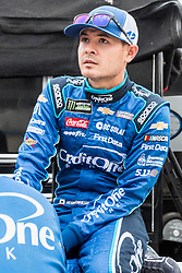 October 5, 2018 - Dover, DE, U.S. - DOVER, DE - OCTOBER 05: Kyle Larson driver of the #42 Credit One Bank Chevrolet on the grid, waiting out a rain delay for qualifying for the Monster Energy NASCAR Cup Series Gander Outdoors 400 on October 05, 2018, at Dover International Speedway in Dover, DE. Qualifying was canceled after approximately a 40 minute delay. (Photo by David Hahn/Icon Sportswire) (Credit Image: © David Hahn/Icon SMI via ZUMA Press)