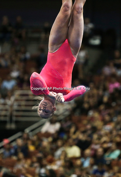 Jade Carey competes on the floor exercise during senior women's opening round of the U.S. gymnastics championships, Sunday, Aug. 20, 2017, in Anaheim, Calif. (AP Photo/Ringo H.W. Chiu)