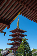 The 53-meter high five-storied pagoda at the Sensoji Buddhist temple in Asakusa, Tokyo, Japan. The original pagoda was built during the Edo period in 942 CE, and rebuilt at the current location in 1973..