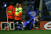 Photo: Steve Bond/Sportsbeat Images.<br />Leicester City v Charlton Athletic. Coca Cola Championship. 29/12/2007. Stephen Clemence (lower) is congratulated
