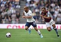 Football - 2019 / 2020 Premier League - Tottenham Hotspur vs. Aston Villa<br /> <br /> Tottenham Hotspur's Lucas Moura holds off the challenge from Aston Villa's Ahmed Elmohamady, at The Tottenham Hotspur Stadium.<br /> <br /> COLORSPORT/ASHLEY WESTERN