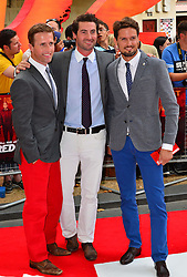 Red 2 UK film premiere.<br /> (L- R) Humphrey Berney, Ollie Baines and Stephen Bowman of Blake during the premiere of the sequel to 2010's graphic novel adaption, about a group of retired assassins. <br /> Empire Leicester Square<br /> London, United Kingdom<br /> Monday, 22nd July 2013<br /> Picture by Nils Jorgensen / i-Images