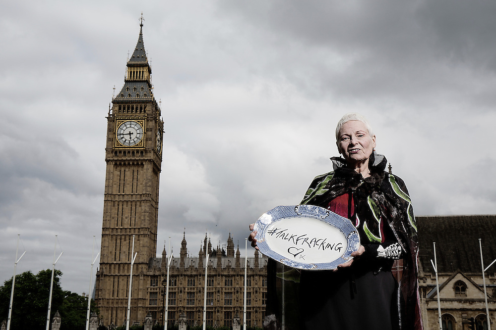 Dame Vivienne Westwood outside the Houses Of Parliament in  Westminster of the Talk Fracking conference this evening at Westminster City Hall onMonday 16 June, 2014.<br /> <br /> <br /> <br /> Photos by Ki Price