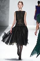 Kate Kosushkina walks down runway for F2012 Tadashi Shoji's collection in Mercedes Benz fashion week in New York on Feb 9, 2012 NYC