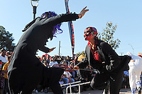Members of Tonatiuh perform Danzas de La Viejada, traditional dances from Veracruz at Sunday's annual Caminos Del Arte Day of The Dead Festival in Closter Park in Salinas.
