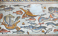 Fish from the 3rd century Roman mosaic villa floor from Lod, near Tel Aviv, Israel. The Roman floor mosaic of Lod is the largest and best preserved mosaic floor from the levant region along the eastern Mediterranean coast. It is unclear whether the owners were Jewish, Christian or pagan but either way they would have been wealthy to own such a magnificent floor. The Shelby White and Leon Levy Lod Mosaic Centre, Lod, Israel. .<br /> <br /> If you prefer to buy from our ALAMY STOCK LIBRARY page at https://www.alamy.com/portfolio/paul-williams-funkystock/greco-roman-sculptures.html . Type -    lod  - into LOWER SEARCH WITHIN GALLERY box - Refine search by adding a subject, place, background colour, museum etc.<br /> <br /> Visit our ROMAN WORLD PHOTO COLLECTIONS for more photos to download or buy as wall art prints https://funkystock.photoshelter.com/gallery-collection/The-Romans-Art-Artefacts-Antiquities-Historic-Sites-Pictures-Images/C0000r2uLJJo9_s0