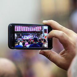 Mechanicsburg, PA - August 1, 2016: A mobile device is used by a person in the crowd to record part of a Trump campaign rally.