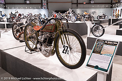 Mike Lange's 8-Valve 1927 Harley-Davidson Factory 1/2 Mile 8-valve racer on view in the What's the Skinny Exhibition (2019 iteration of the Motorcycles as Art annual series) at the Sturgis Buffalo Chip during the Sturgis Black Hills Motorcycle Rally. SD, USA. Friday, August 9, 2019. Photography ©2019 Michael Lichter.