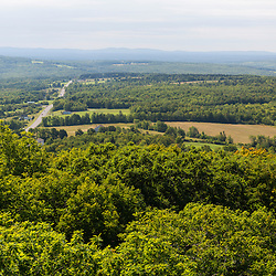 US 1, farms, and forests as seen from Peek-A-Boo Mountain in Weston, Maine.