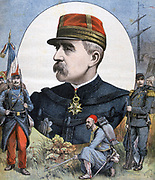 General Jacques Duchesne who led forces in Second French Madagascar expedition 1894-1895.  20 French soldiers died fighting, 6,000 died of malaria. 'Le Petit Journal', Paris, 2 December 1894. Colonialism, Epidemic, Disease