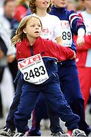 Friidrett, Jentebølgen 2001, Drammen 6. juni. Mosjonsløp, løp, løping, jenter, jogging, jogg, Illustrasjon, mosjon. barn, unge.
