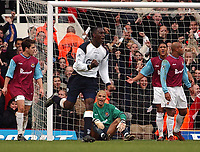 Photo. Javier Garcia<br />02/02/2003 West Ham v Liverpool, FA Barclaycard Premiership, Upton Park<br />David James complains about the 3rd goal as Emile Heskey celebrates his second goal in two games