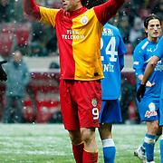 Galatasaray's Johan Elmander during their Turkish Super League soccer match Galatasaray between MP Antalyaspor at the TT Arena Stadium at Seyrantepe in Istanbul Turkey on Saturday 01 February 2012. Photo by TURKPIX