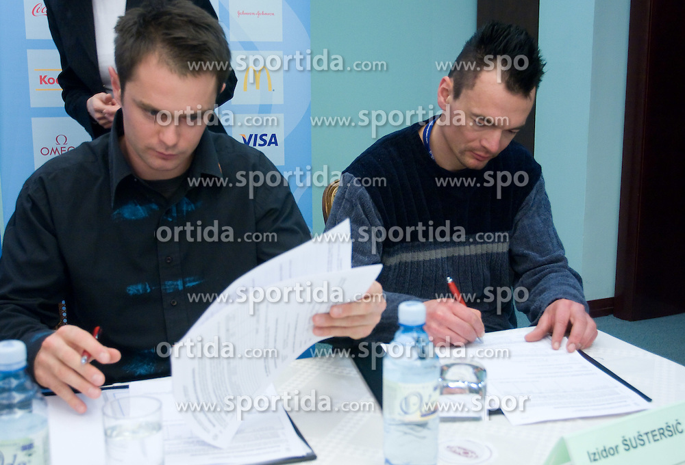 Rok Flander and Izidor Sustersic at press conference when they have signed a contract with IOC and OKS for 16 months long sponsorship (1500 $ monthly) till Olympic games in Vancouver 2010, on December 22, 2008, Grand hotel Union, Ljubljana, Slovenia. (Photo by Vid Ponikvar / SportIda).