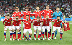 SOCHI, July 7, 2018  Players of Russia pose for a group prior to the 2018 FIFA World Cup quarter-final match between Russia and Croatia in Sochi, Russia, July 7, 2018. (Credit Image: © Cao Can/Xinhua via ZUMA Wire)