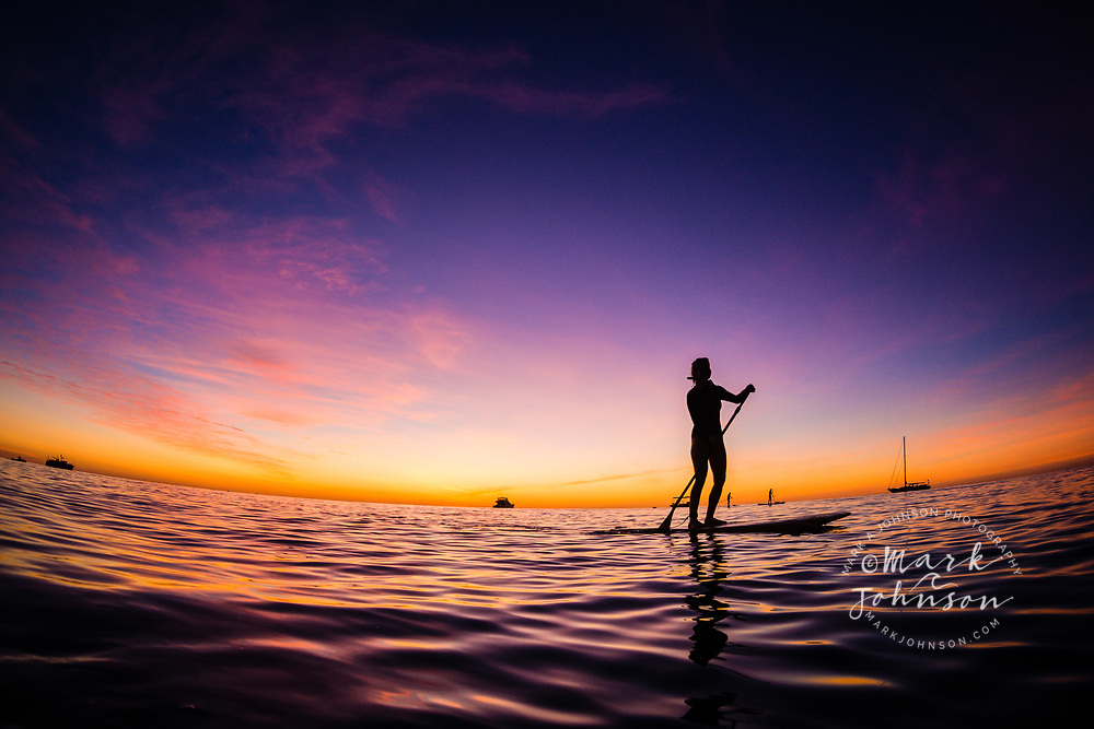 Stand Up Paddle Boarding at dusk, Lady Elliot Island, Great Barrier Reef, Queensland, Australia