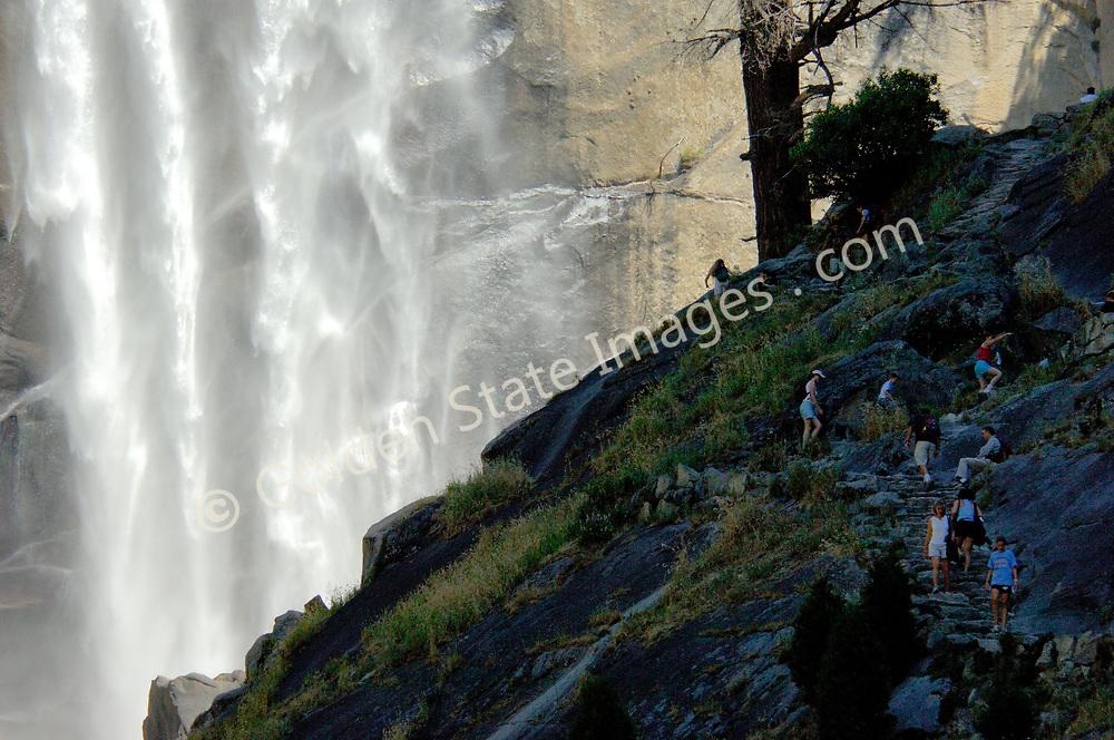 Park visitors along trail to Vernal Falls.