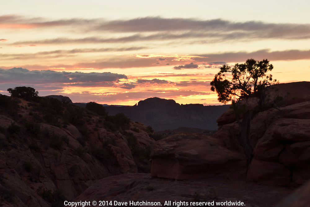Canyon Country Sunset in the southwest desert south of Arches National Park near Moab, Grand County, Utah, United States.