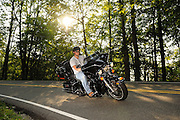 "Motorcycle riding along the ""Tail of the Drago"" Highway 129 along the Tennessee/North Carolina border. No model release."