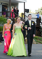 """Susannah O'Brien and Robby Cyr lead off the """"Grammy"""" march for Laconia High School's prom at Meadowbrook Friday evening.  (Karen Bobotas/for the Laconia Daily Sun)"""