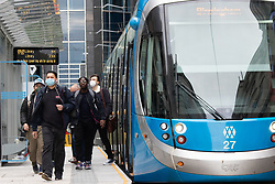 © Licensed to London News Pictures. 11/09/2020. Birmingham, , UK. Birmingham Restrictions. Pictured, Commuters arriving by metro tram in Birmingham City Centre this morning. There has been a significant rise in the spread of Coronavirus in Birmingham. Although the City has been on a watch list for some weeks. Council Leaders are expected to announce new restrictions to help halt the rise of infections. Photo credit: Dave Warren / LNP