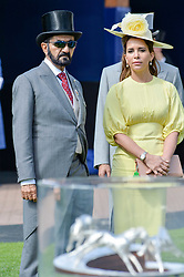 Princess Haya of Jordan with her husband Sheikh Mohammed bin Rashid Al Maktoum of Dubai at The Investec Derby, Epsom, Surrey England. 3 June 2017.<br /> Photo by Dominic O'Neill/SilverHub 0203 174 1069 sales@silverhubmedia.com