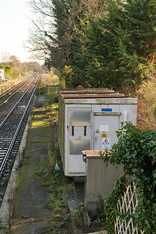 Signal switching and relay equipment on the disused platform at Trimley Station. <br /> <br /> Photo by Jonathan J Fussell, COPYRIGHT 2020