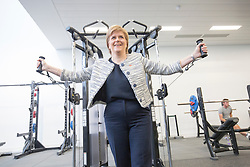Rt Hon Nicola Sturgeon, First Minister of Scotland and internationalists from Oriam's sporting partners officially open the £33m Heriot-Watt University Edinburgh facility. Pic in the gym.