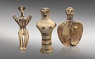 Mycenaean female figurines  from Mycenae tombs, Archaeological Museum Athens.  Grey Background<br /> <br /> Left: Seated Mycenaean female figurine with raies arms, from Mycenae tomb 91,  Cat No 3193. <br /> <br /> Middle: Hollow Mycenaean female figurine, adorant, wearing a necklace, from Mycenae tomb 40,  Cat No 2494. <br /> <br /> Right: Upper part of a Mycenaean female figurine with stylised arms wearing a necklace, from Mycenae tomb 101,  Cat No 4690 .<br /> <br /> If you prefer to buy from our ALAMY PHOTO LIBRARY  Collection visit : https://www.alamy.com/portfolio/paul-williams-funkystock/mycenaean-art-artefacts.html . Type -   Athens    - into the LOWER SEARCH WITHIN GALLERY box. Refine search by adding background colour, place, museum etc<br /> <br /> Visit our MYCENAEN ART PHOTO COLLECTIONS for more photos to download  as wall art prints https://funkystock.photoshelter.com/gallery-collection/Pictures-Images-of-Ancient-Mycenaean-Art-Artefacts-Archaeology-Sites/C0000xRC5WLQcbhQ