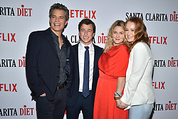 Skyler Gisondo, Liv Hewson, Drew Barrymore and Timothy Olyphant attend Netflix's 'Santa Clarita Diet' Season 2 Premiere at The Dome at Arclights Hollywood on March 22, 2018 in Los Angeles, California. Photo by Lionel Hahn/AbacaPress.com