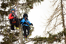 January 19, 2018 - Cortina D'Ampezzo, Dolimites, Italy - Ski coaches hanging off a tree at the Cortina d'Ampezzo FIS World Cup in Cortina d'Ampezzo, Italy on January 19, 2018. (Credit Image: © Rok Rakun/Pacific Press via ZUMA Wire)