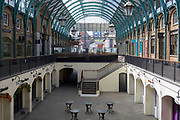 As the number of people dying with Covid-19 in hospitals in England rises by another 665 to 16,272, and the UK experiences further lockdown by the UK government due to the Coronavirus pandemic, the deserted streets, businesses and retailers in Covent Garden suffer further economic losses after forced closure, on 22nd April 2020, in London, England.