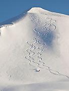Alaska. Skiing in Turnagain Pass, Chugach National Forest.