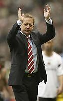 Photo: Aidan Ellis.<br /> Manchester United v Charlton Athletic. The Barclays Premiership. 07/05/2006.<br /> Alan Curbishley says good bye to Charlton