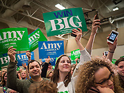 01 MARCH 2020 - ST. LOUIS PARK, MINNESOTA: Supporters of Sen. Amy Klobuchar and Black Lives Matter intermingle after BLM protesters disrupted Klobuchar's campaign rally. Dozens of Black Lives Matter (BLM) protesters disrupted Sen. Amy Klobuchar's last presidential election rally in Minnesota before Super Tuesday. Almost 500 Klobuchar supporters came to hear Sen. Klobuchar, when the BLM protesters marched into the hall and took control of the stage. Klobuchar cancelled the event about an hour after the BLM protesters entered the hall. The protesters targeted Klobuchar because while she was the Hennepin County Attorney, she oversaw the conviction of Myon Burrell, a black teenager accused and convicted of murder. Evidence has come to light since his conviction that suggests he was wrongly convicted. His conviction has become a flashpoint in Minnesota politics.        PHOTO BY JACK KURTZ