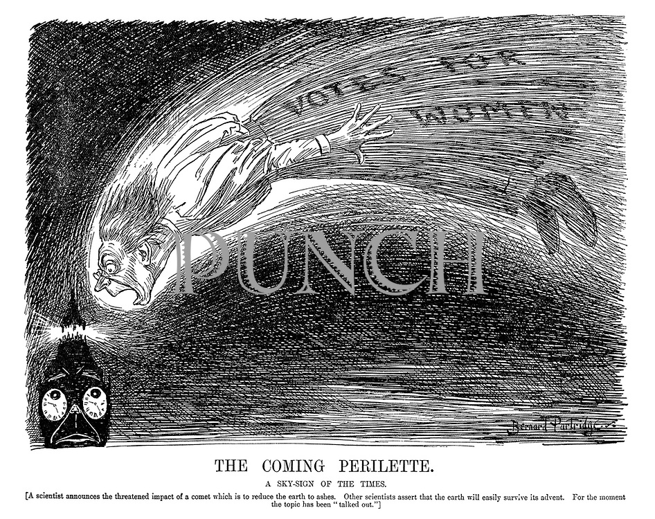 """The Coming Perilette. A sky-sign of the times. [A scientist announces the threatened impact of a comet which is to reduce the earth to ashes. Other scientists assert that the earth will easily survive its advent. For the moment the topic has been """"talked out.""""]"""