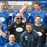 St Johnstone FC photocall 2009-10<br /> New signing from Rangers, keeper Graeme Smith having a laugh with his team mates during the pre-season photocall<br /> Picture by Graeme Hart.<br /> Copyright Perthshire Picture Agency