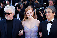 Pedro Almodóvar, Jessica Chastain and Park Chan-Wook<br /> at the Okja gala screening,  at the 70th Cannes Film Festival Friday 19th May 2017, Cannes, France. Photo credit: Doreen Kennedy