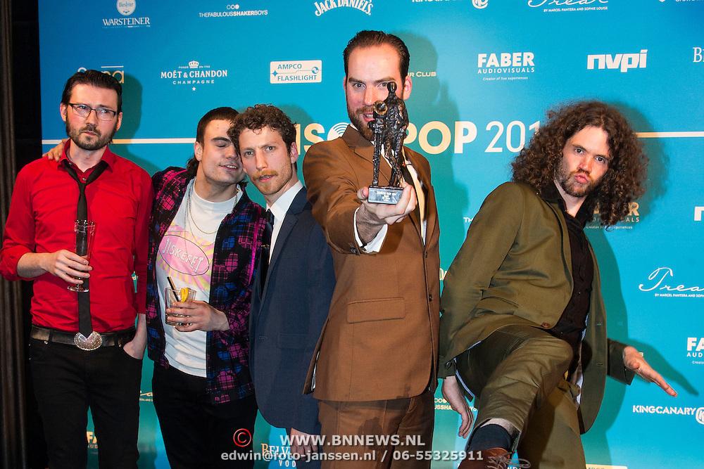 NLD/Amsterdam//20140331 - Uitreiking Edison Pop 2014, de Staat, Torre Florim, Vedran Mircetic, Jop van Summeren, Rocco Hueting, Tim van Delft