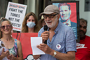 Mike Cushman of Jewish Voice for Labour addresses supporters of left-wing Labour Party groups at a protest lobby outside the partys headquarters on 20th July 2021 in London, United Kingdom. The lobby was organised to coincide with a Labour Party National Executive Committee meeting during which it was asked to proscribe four organisations, Resist, Labour Against the Witchhunt, Labour In Exile and Socialist Appeal, members of which could then be automatically expelled from the Labour Party.