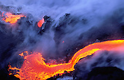 Lava into ocean, Kilauea Volcano, Hawaii Volcanoes National Park, Island of Hawaii, Hawaii, USA<br />